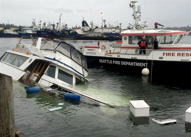 Capsized boat