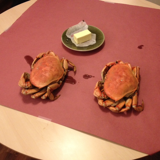 Crabs on table